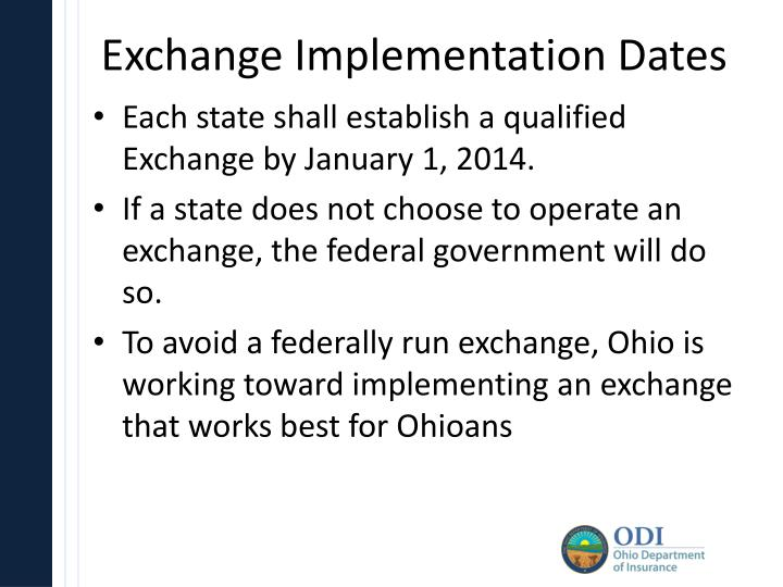 Exchange Implementation Dates