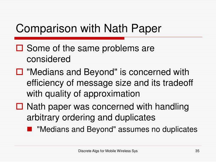 Comparison with Nath Paper