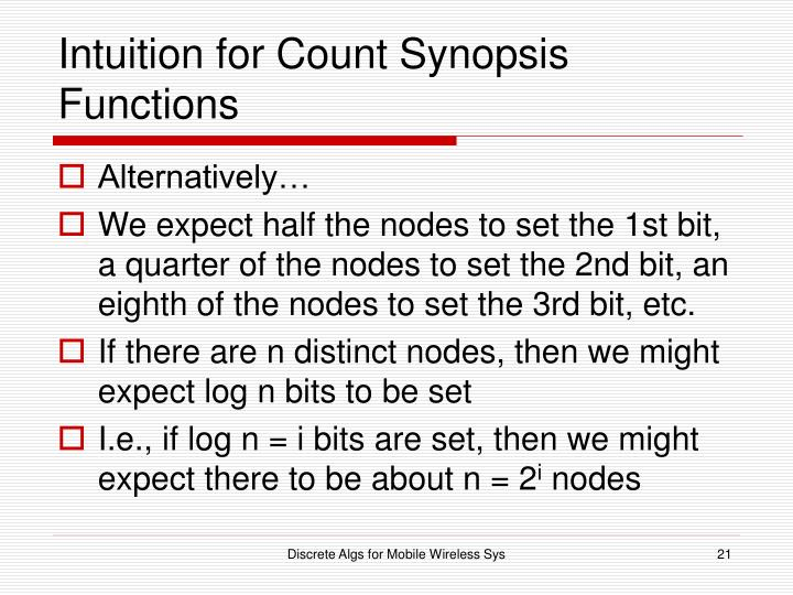 Intuition for Count Synopsis Functions