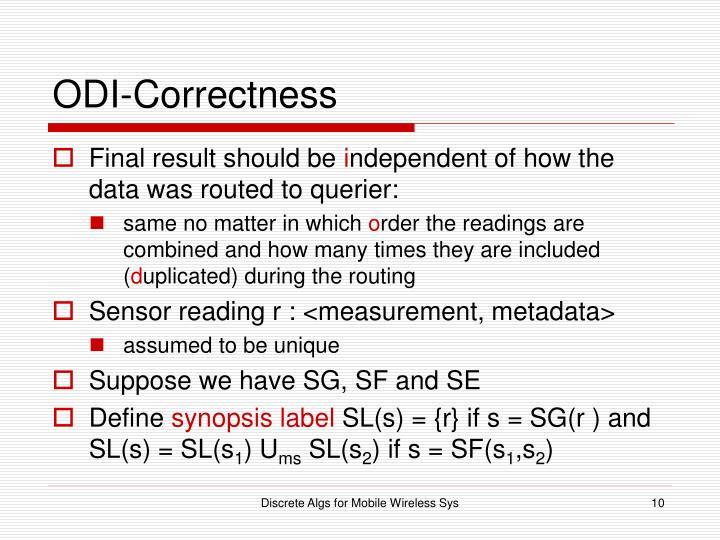 ODI-Correctness