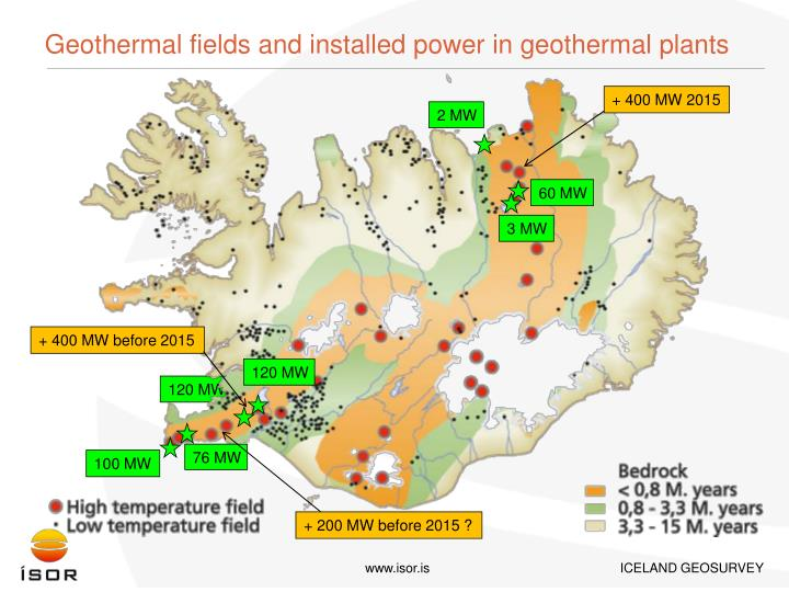Geothermal fields and installed power in geothermal plants
