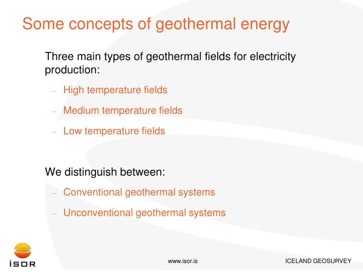 Some concepts of geothermal energy