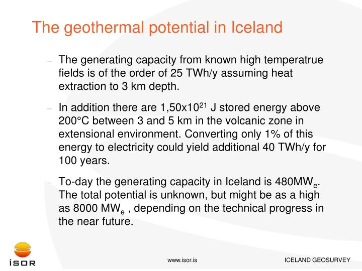 The geothermal potential in Iceland