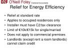 relief for energy efficiency