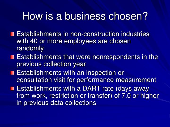 How is a business chosen?