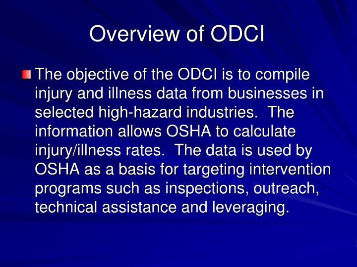 Overview of odci