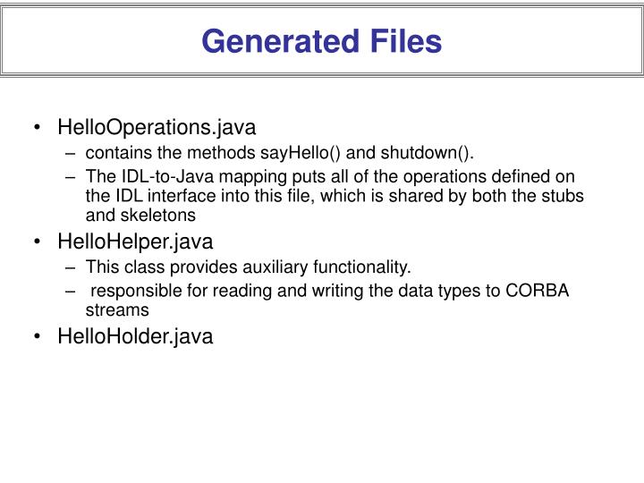 Generated Files