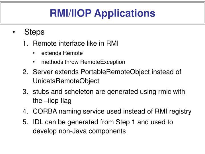 RMI/IIOP Applications