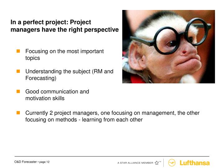 In a perfect project: Project managers have the right perspective