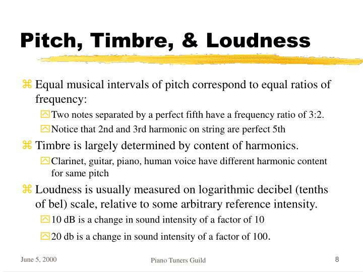 Pitch, Timbre, & Loudness
