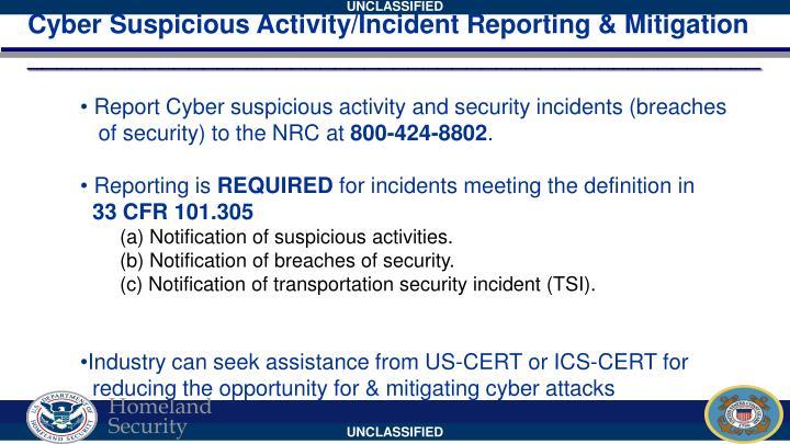 Cyber Suspicious Activity/Incident Reporting & Mitigation