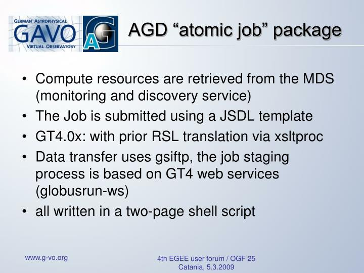 """AGD """"atomic job"""" package"""