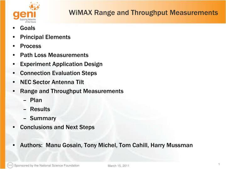Wimax range and throughput measurements