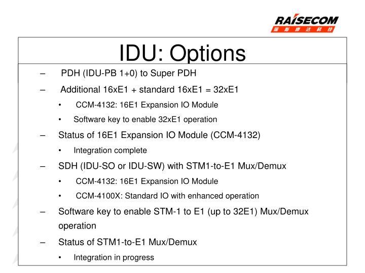 PDH (IDU-PB 1+0) to Super PDH