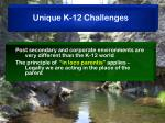 unique k 12 challenges