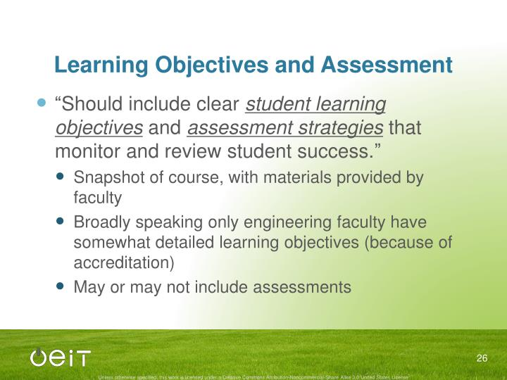 Learning Objectives and Assessment