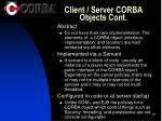 client server corba objects cont