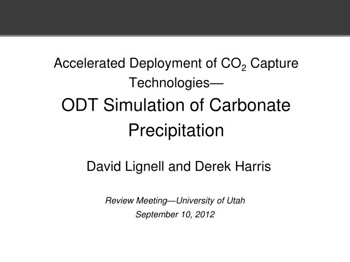 Accelerated deployment of co 2 capture technologies odt simulation of carbonate precipitation