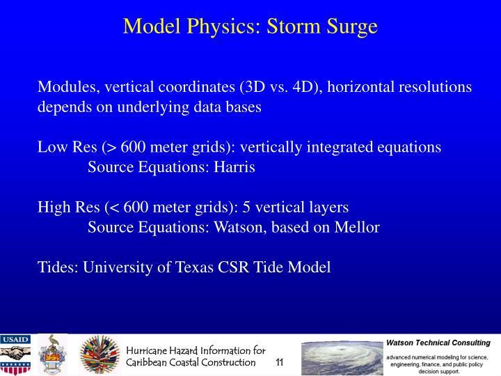 Model Physics: Storm Surge