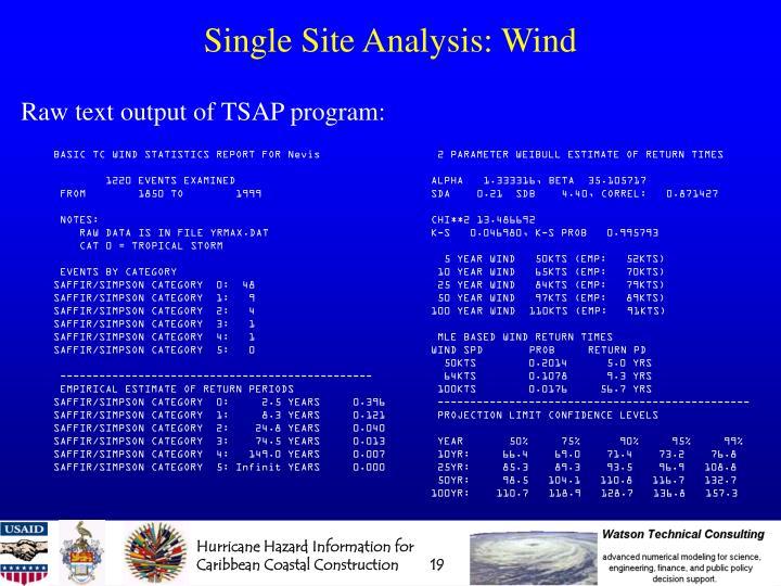 Single Site Analysis: Wind