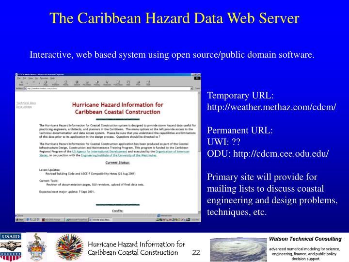 The Caribbean Hazard Data Web Server