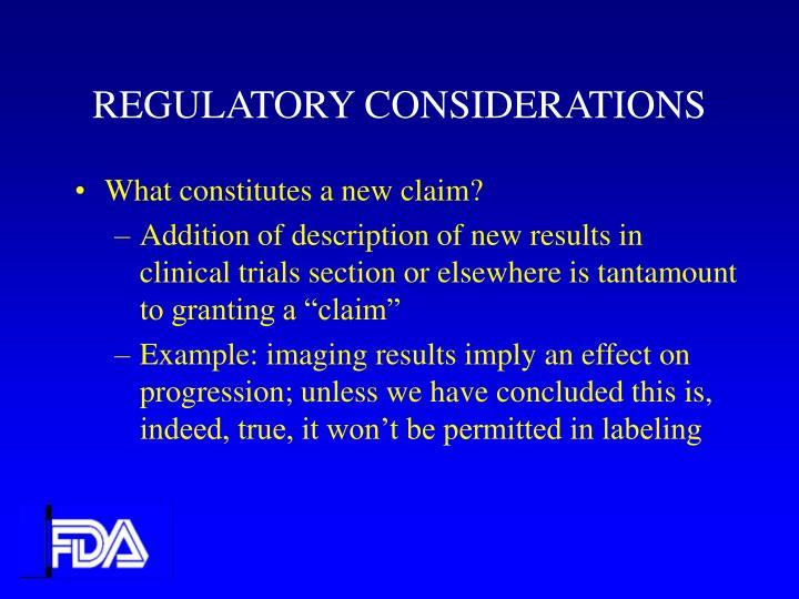 REGULATORY CONSIDERATIONS