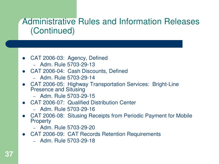Administrative Rules and Information Releases (Continued)