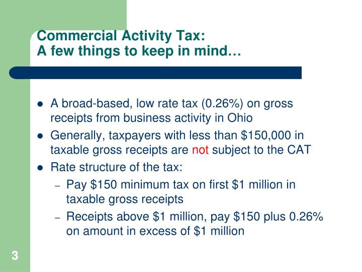 Commercial activity tax a few things to keep in mind