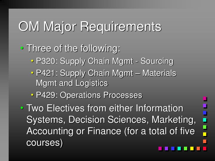 OM Major Requirements