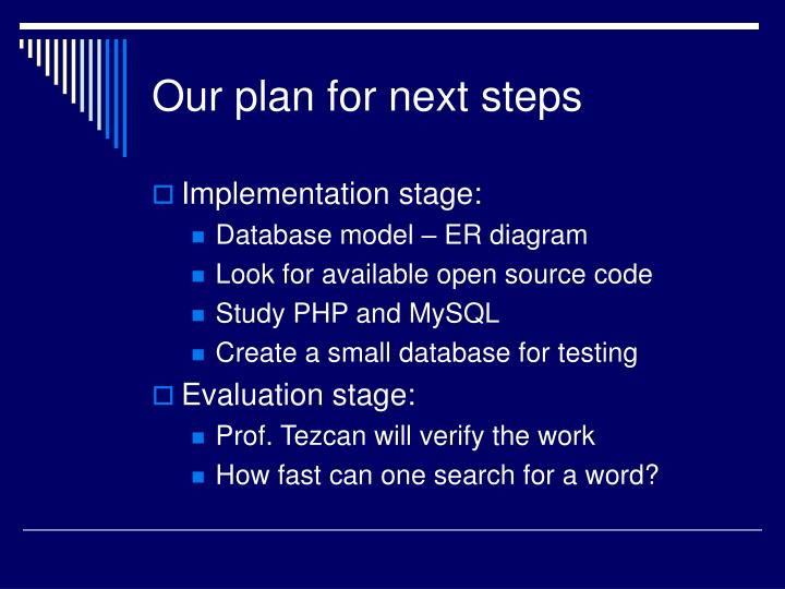 Our plan for next steps