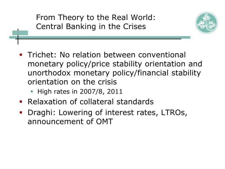 From Theory to the Real World: Central Banking in the Crises