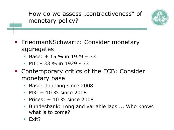 "How do we assess ""contractiveness"" of monetary policy?"