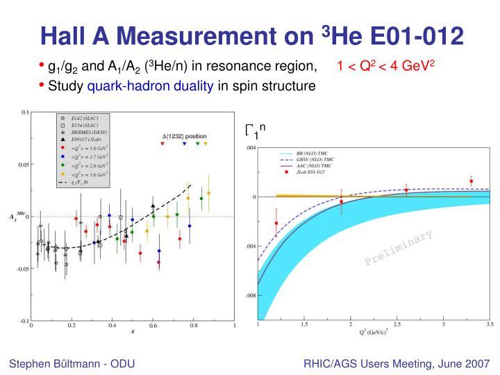 Hall A Measurement on