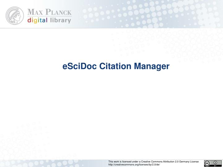 escidoc citation manager n.