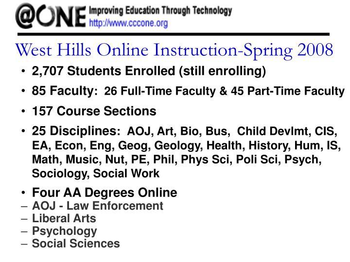 West Hills Online Instruction-Spring 2008