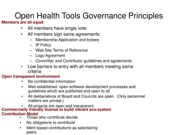 Open Health Tools Governance Principles