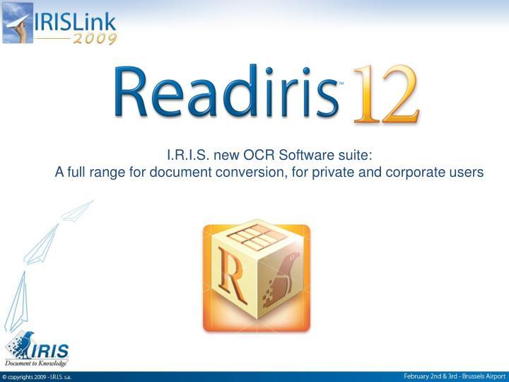 I.R.I.S. new OCR Software suite: