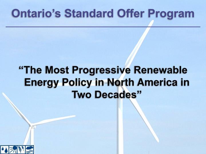 Ontario's Standard Offer Program