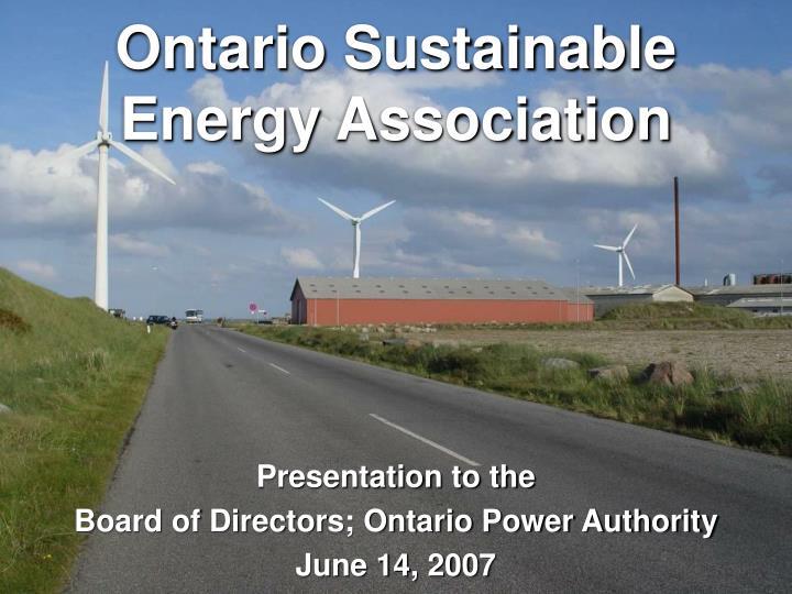 Ontario sustainable energy association