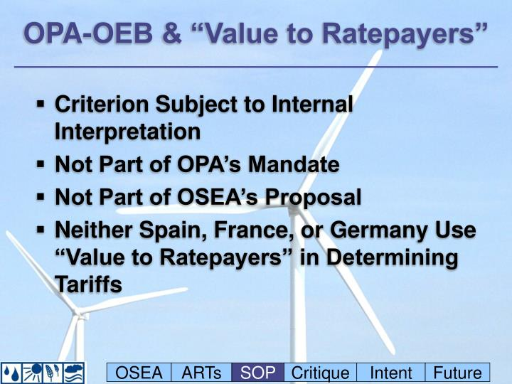 """OPA-OEB & """"Value to Ratepayers"""""""