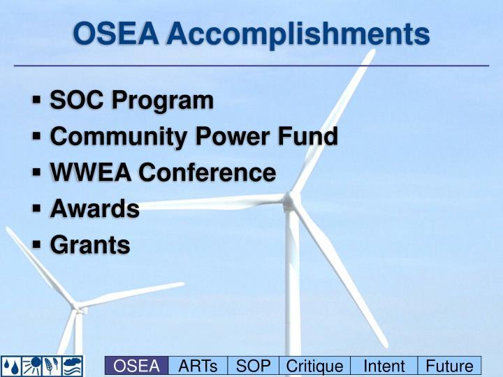 OSEA Accomplishments