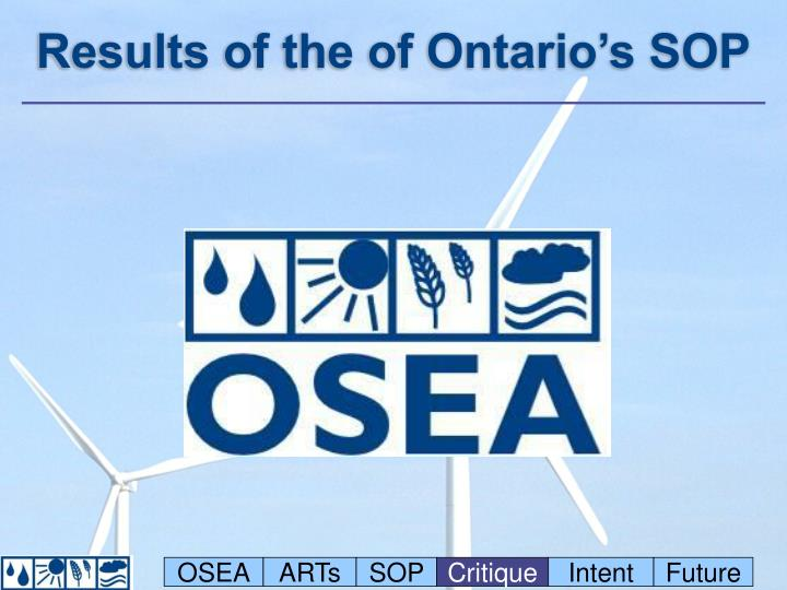 Results of the of Ontario's SOP