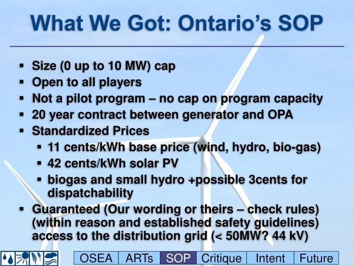 What We Got: Ontario's SOP
