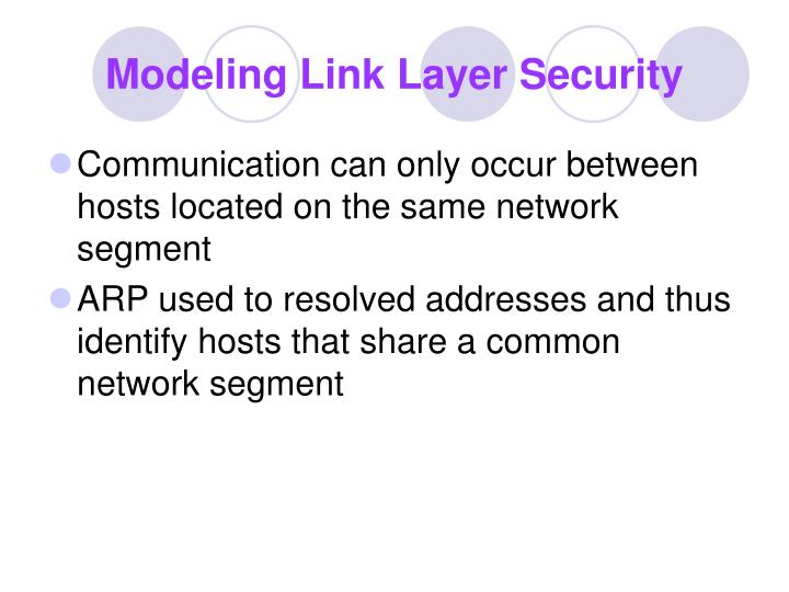 Modeling Link Layer Security
