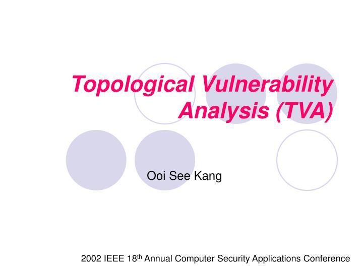 Topological vulnerability analysis tva