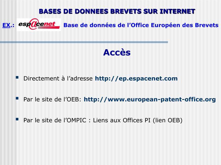 BASES DE DONNEES BREVETS SUR INTERNET
