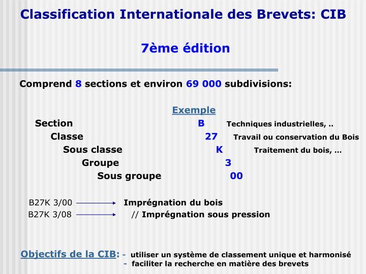 Classification Internationale des Brevets: CIB