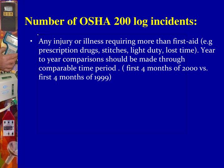 Number of OSHA 200 log incidents: