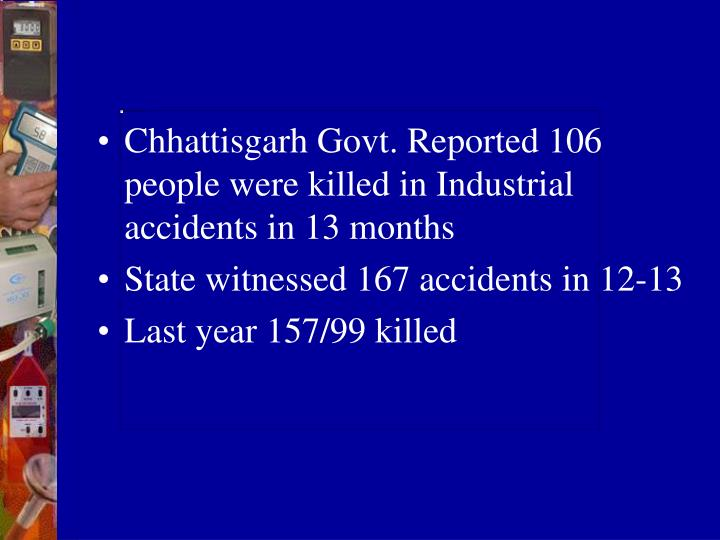 Chhattisgarh Govt. Reported 106 people were killed in Industrial accidents in 13 months