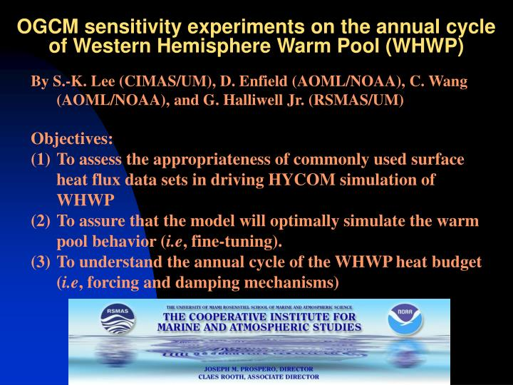 ogcm sensitivity experiments on the annual cycle of western hemisphere warm pool whwp n.